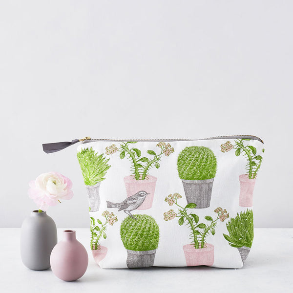 Cactus & Bird Large Cosmetic Bag