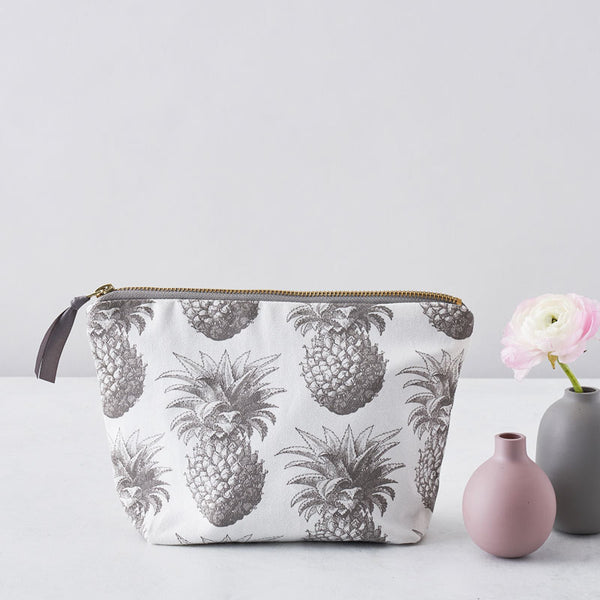 Grey Pineapple Cosmetic Bag