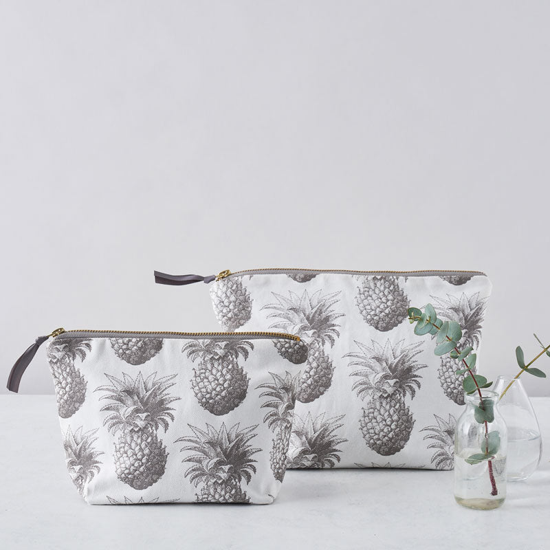 Grey Pineapple Large Cosmetic Bag