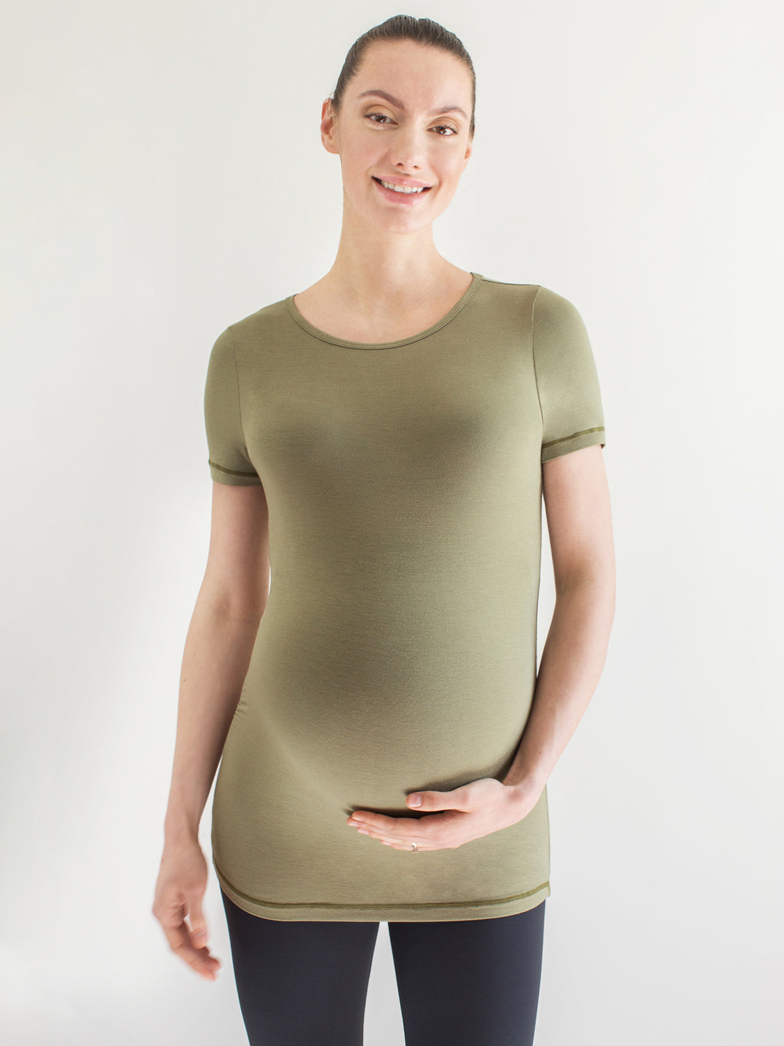 MATERNITY SOFT STRETCH SHORT SLEEVE TEE, SAGE