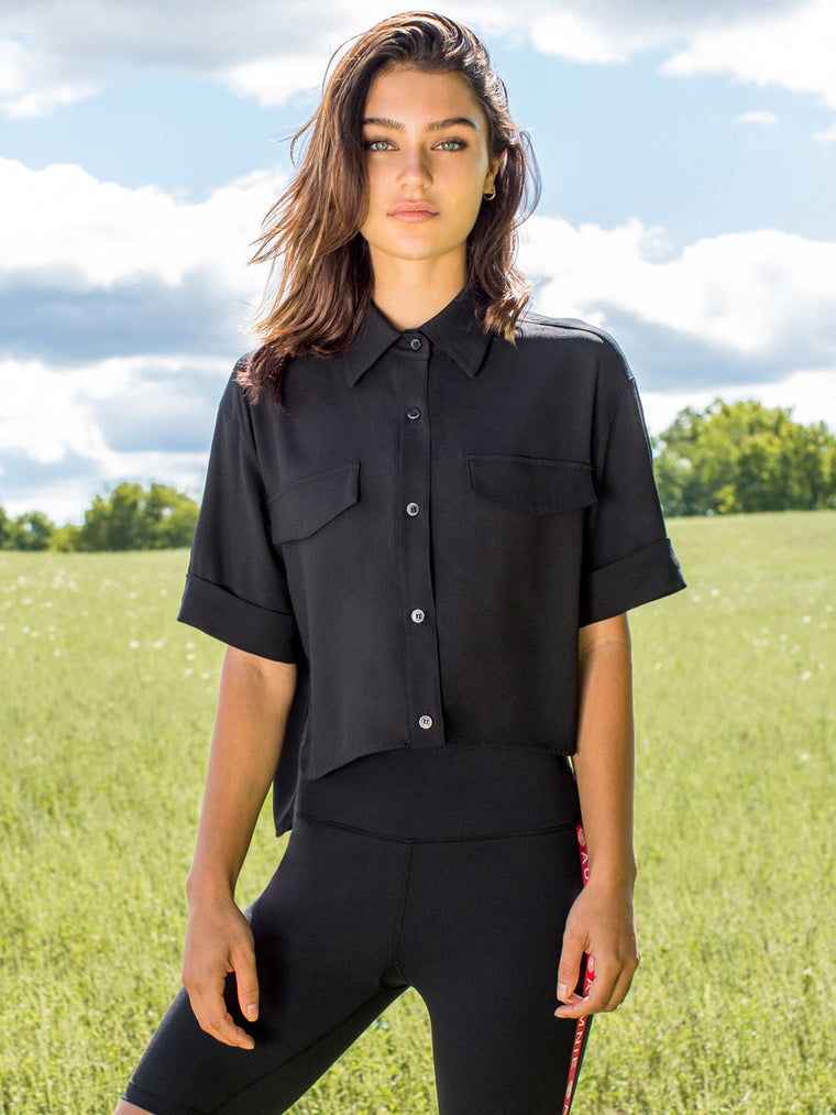 CROPPED CHIFFON BLOUSE, BLACK