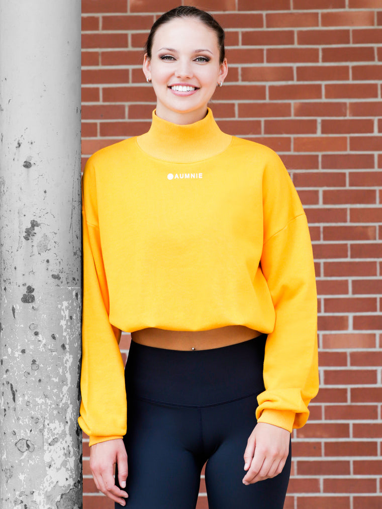 CT MOCK NECK SWEATSHIRT, YELLOW