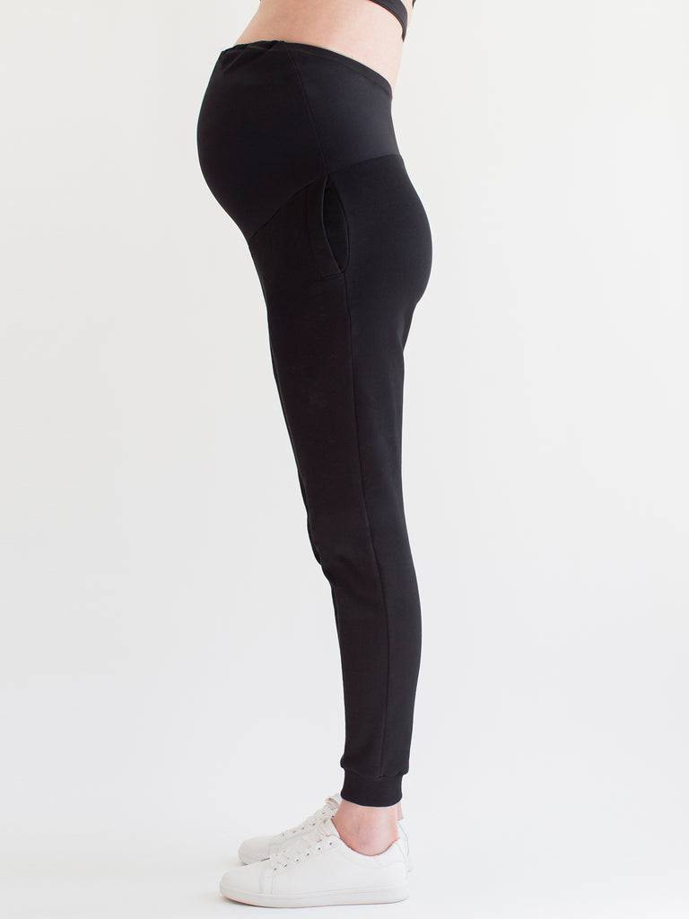OVER THE BUMP MATERNITY SWEATPANTS, BLACK