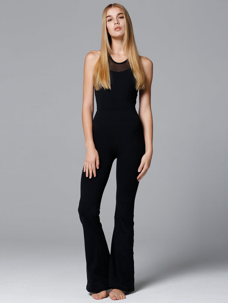 FLARED JUMPSUIT, BLACK