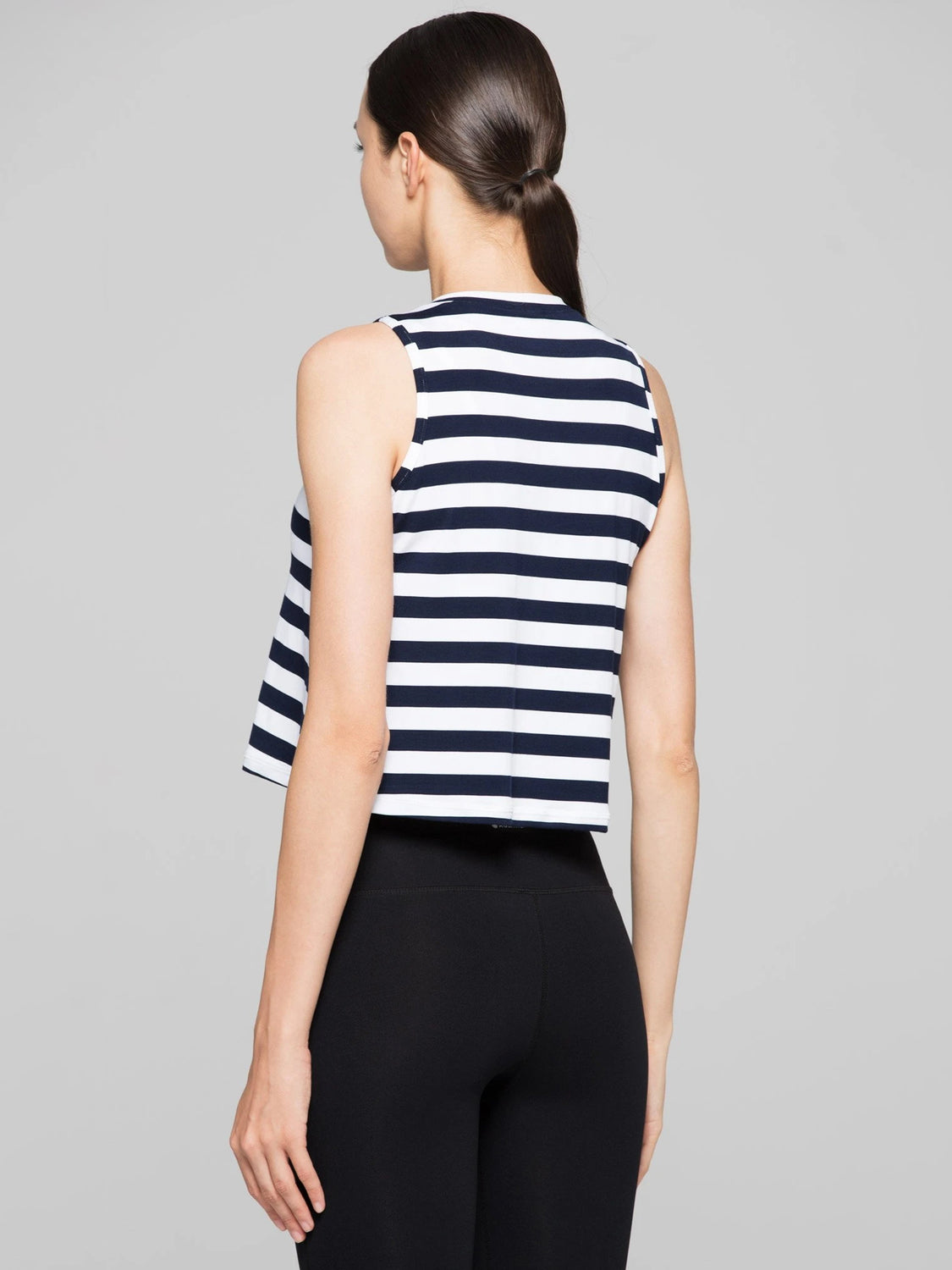 LOOSE CROPPED MUSCLE TANK, NAVY STRIPES