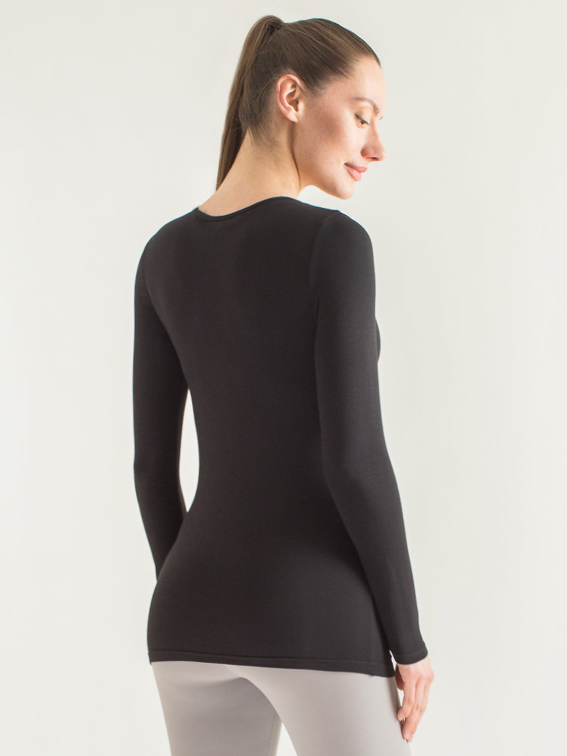 MATERNITY SOFT STRETCH LONG SLEEVE T, BLACK