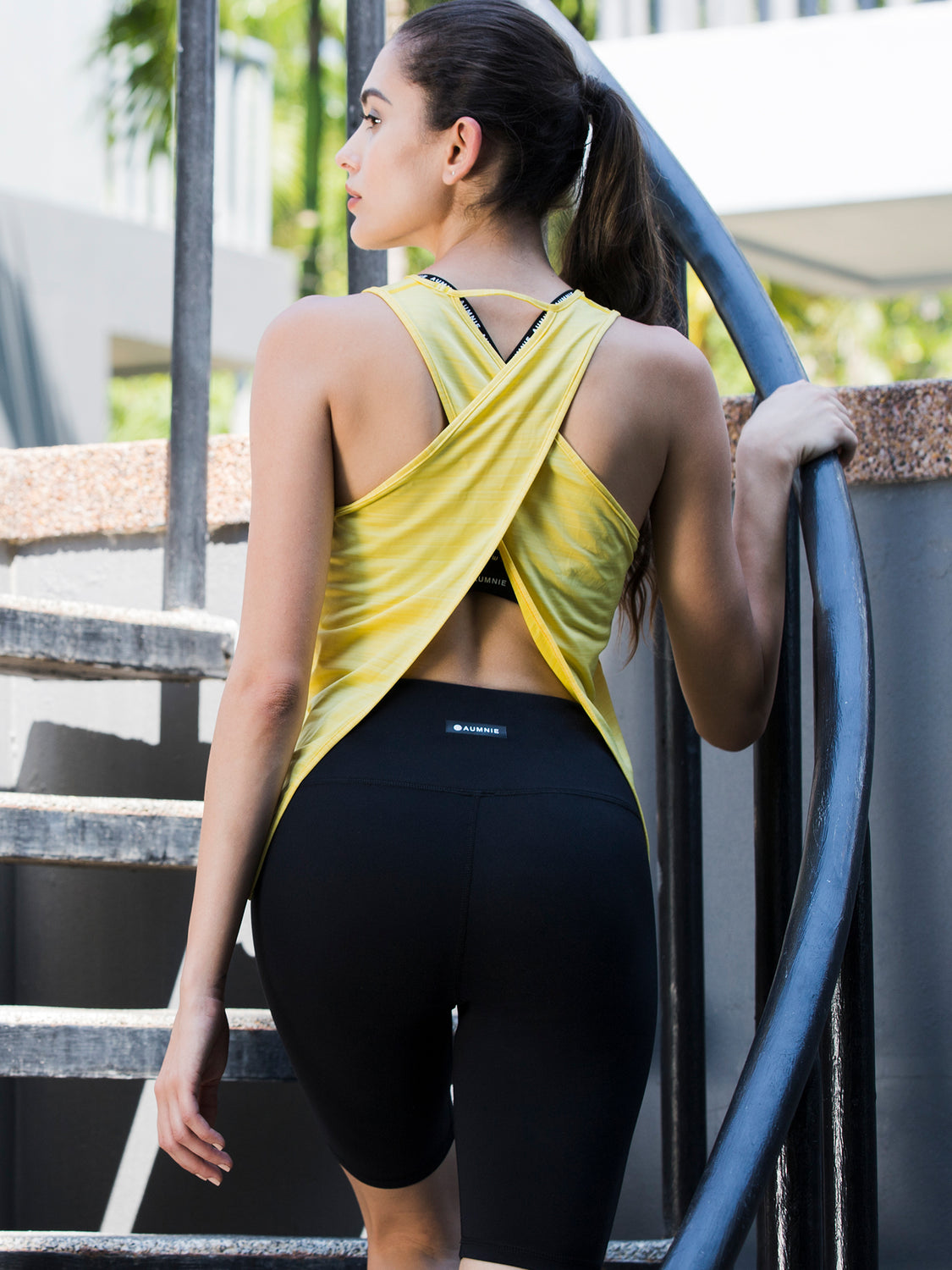 OPEN BACK CROP TOP, YELLOW WFX