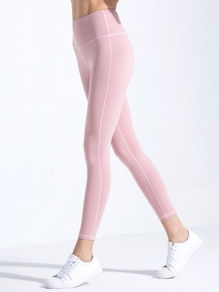 HIGH WAIST ANKLE CROPS, BLUSH