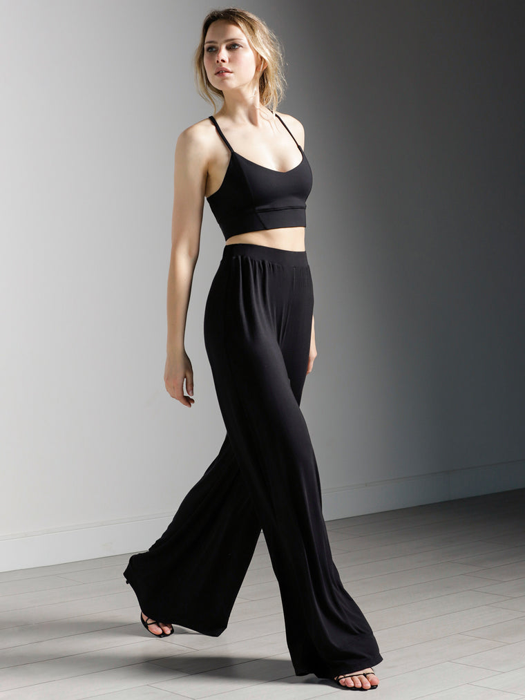 SOFT WIDE LEG PANTS, BLACK