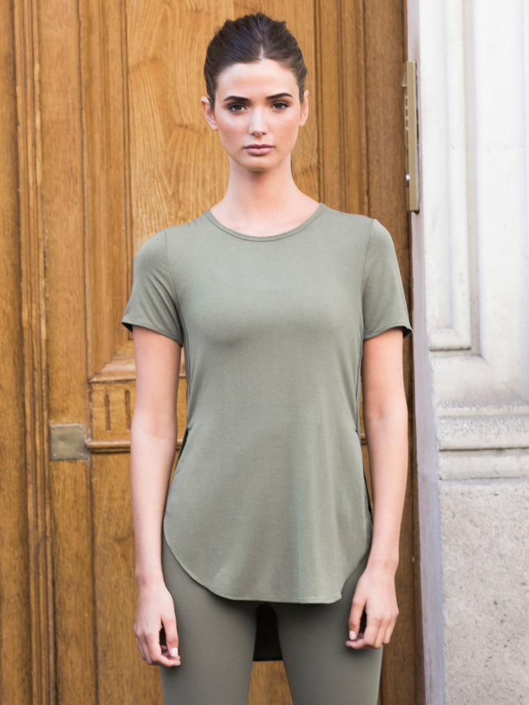 HI LO SPLIT SIDE TEE, SAGE