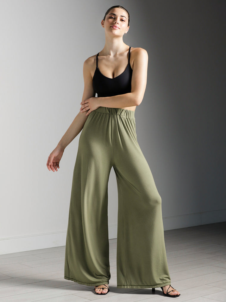 SOFT WIDE LEG PANTS, SAGE