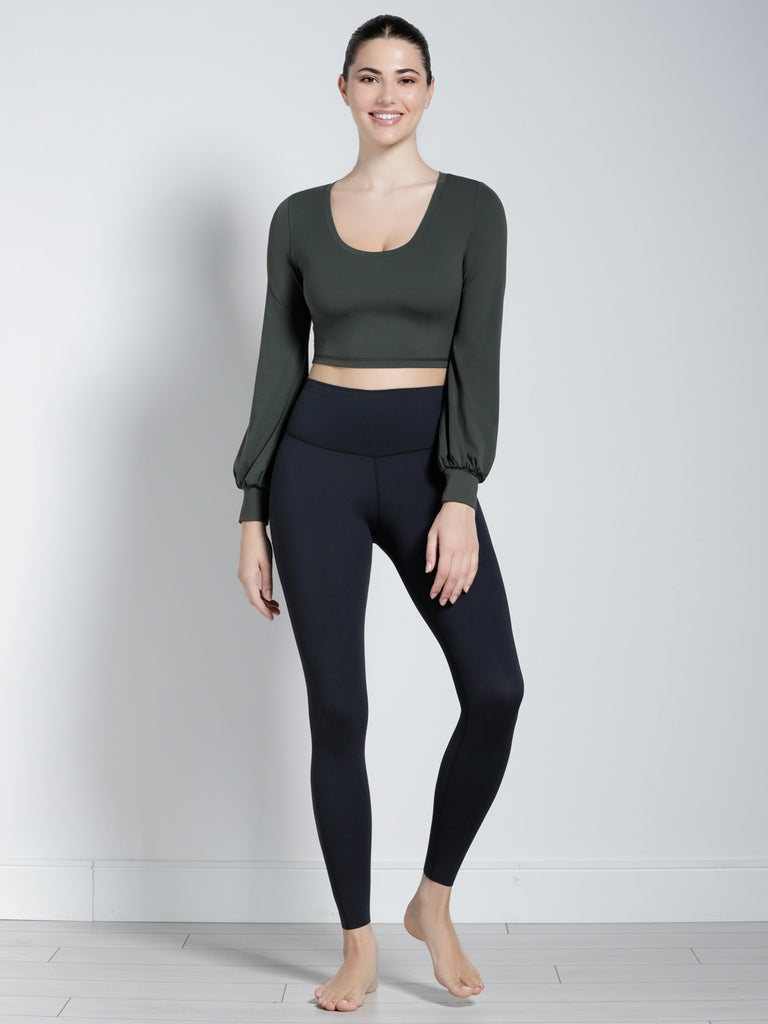 PUFF SLEEVE CROPPED TOP, DEEP FOREST