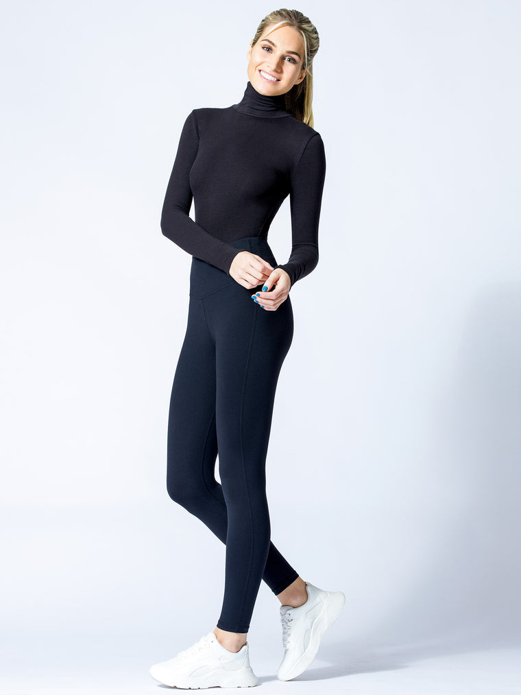 TURTLENECK BODYSUIT, BLACK