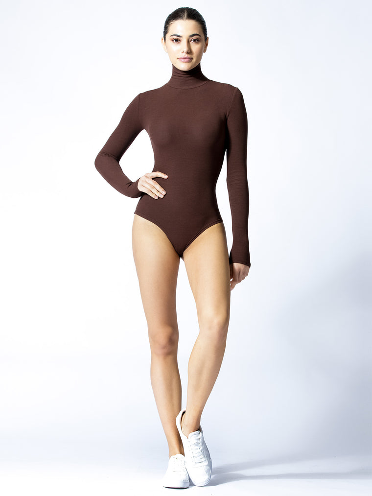 TURTLENECK BODYSUIT, DEEEP BROWN