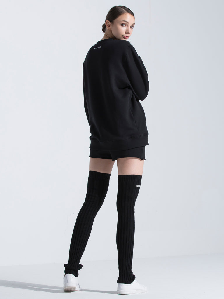 HIGH WAIST COTTON SHORTS, BLACK
