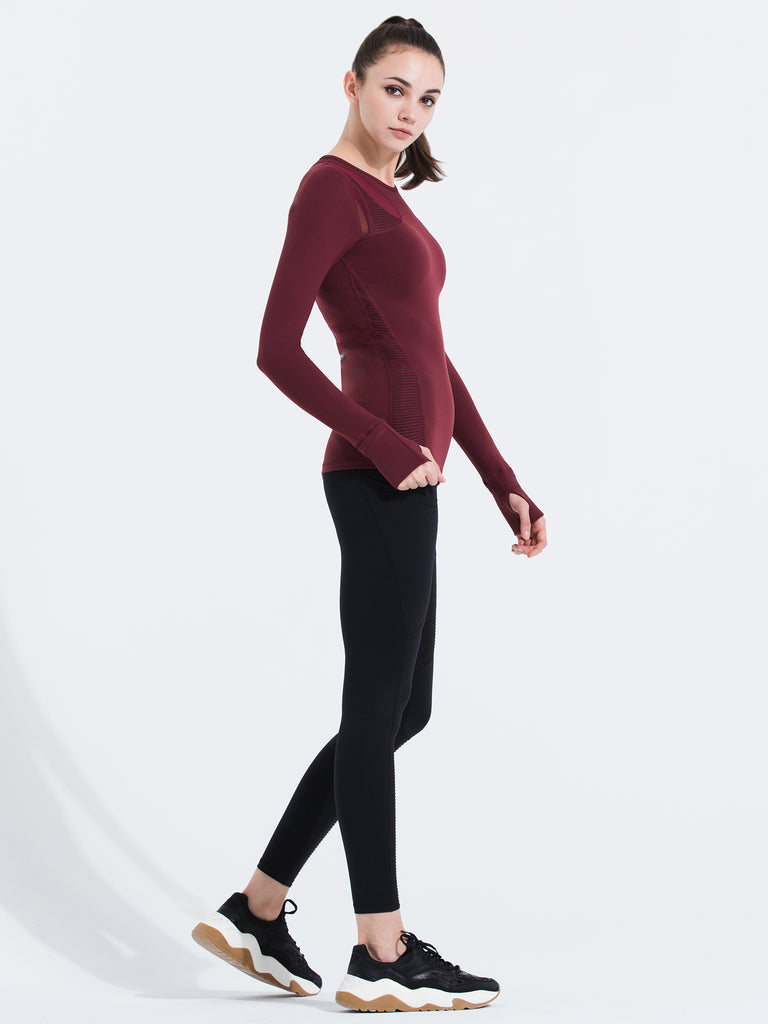 SHAPED PANEL TEE, BORDEAUX