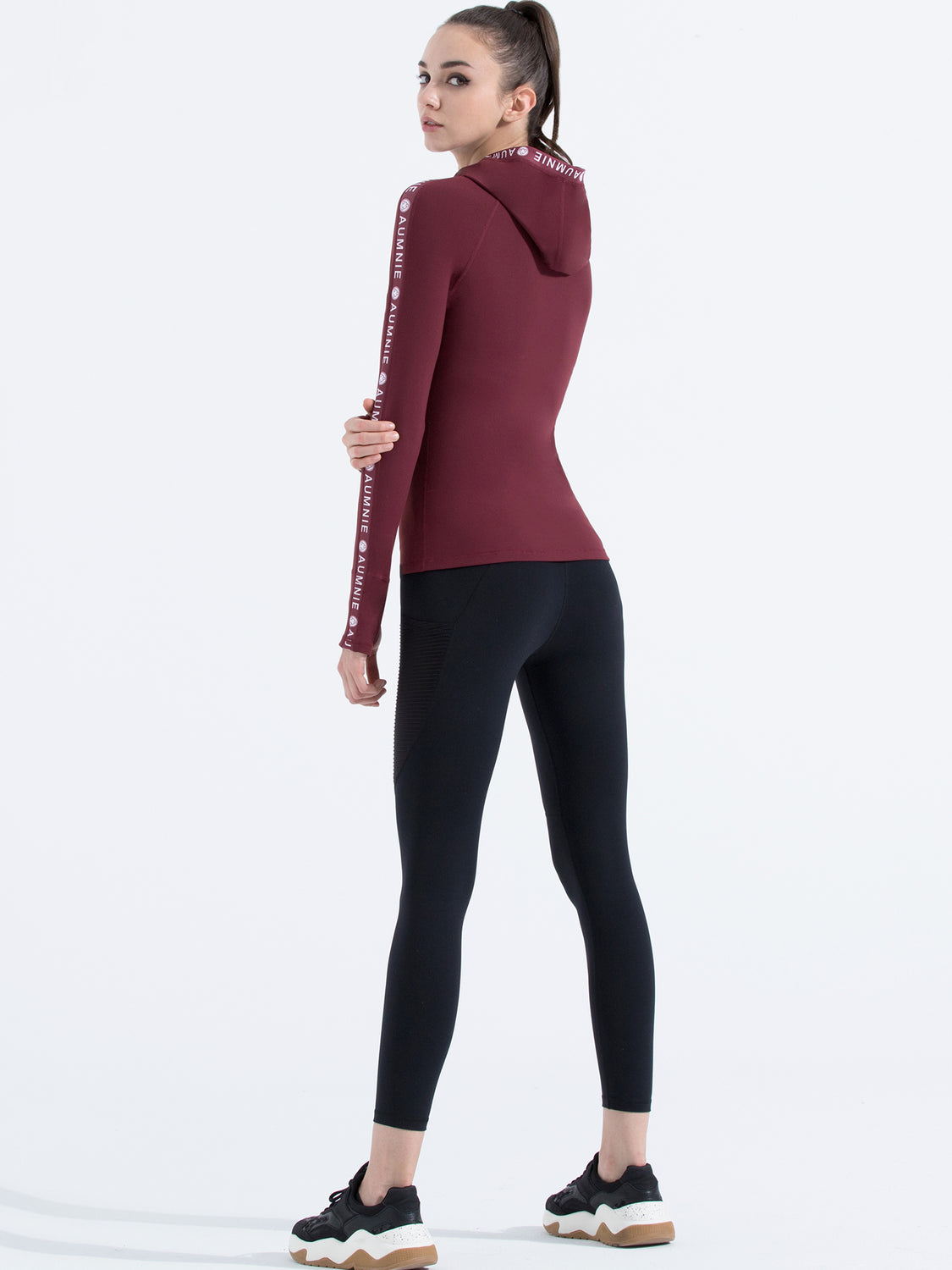 HOODED LOGO TOP, BORDEAUX
