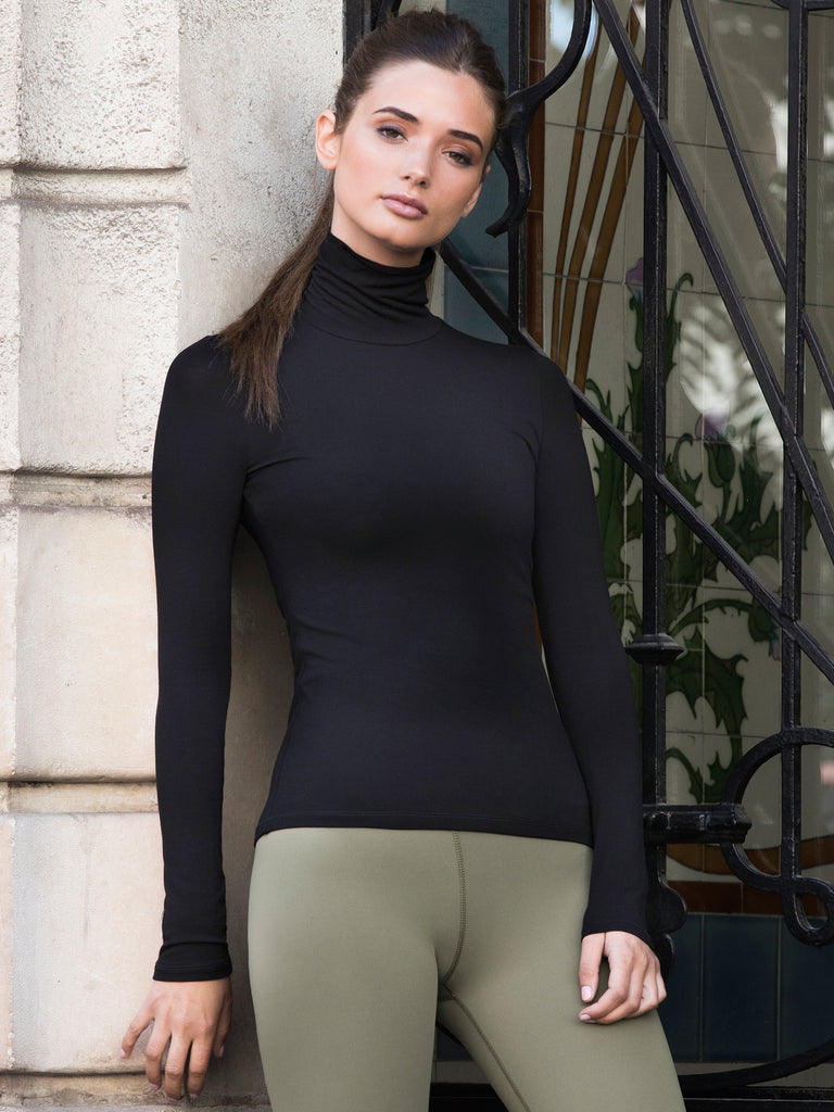 TURTLENECK TOP, BLACK