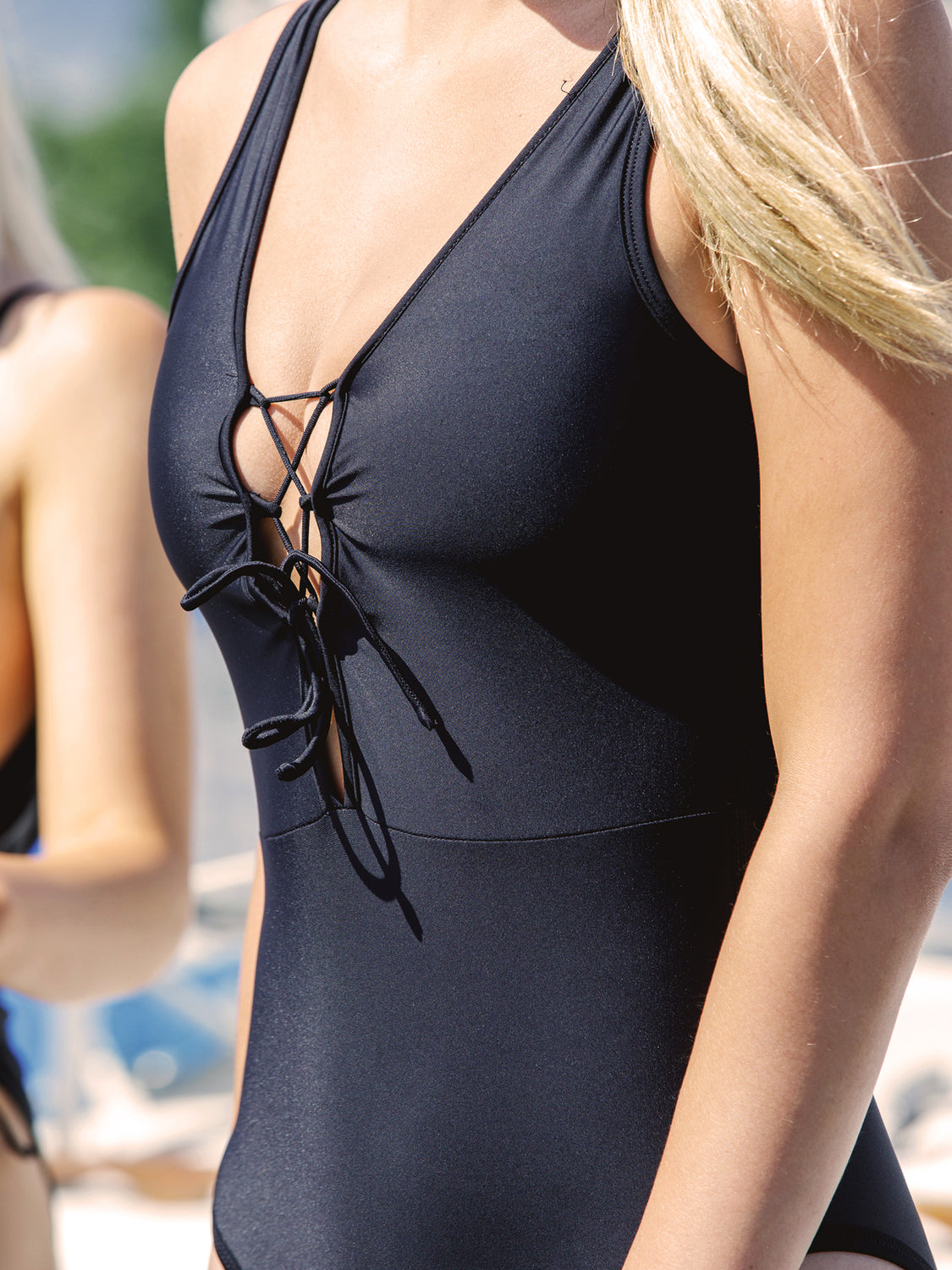 LACE UP SWIMSUIT, BLACK