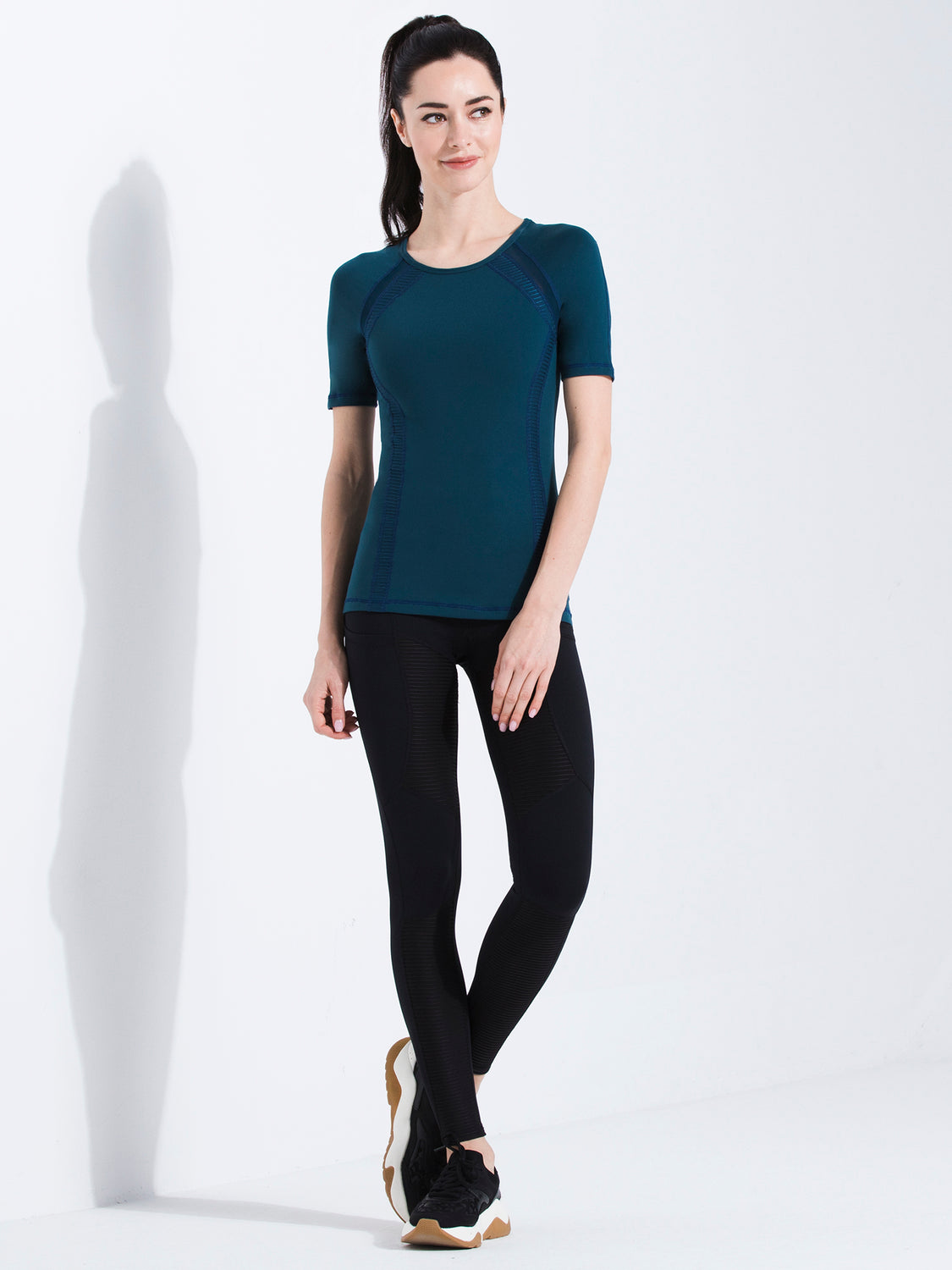 PLEATED MESH TEE, LAKE