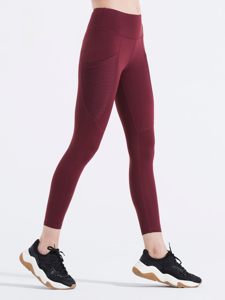 PLEATED POCKET ANKLE CROPS, BORDEAUX