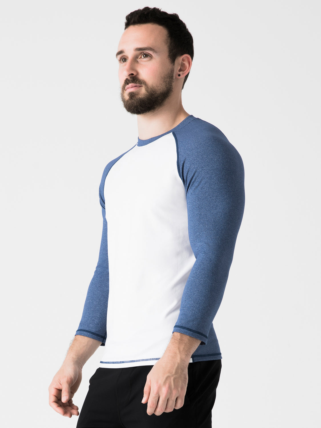 RAGLAN TEE, HEATHER BLUE, WHITE