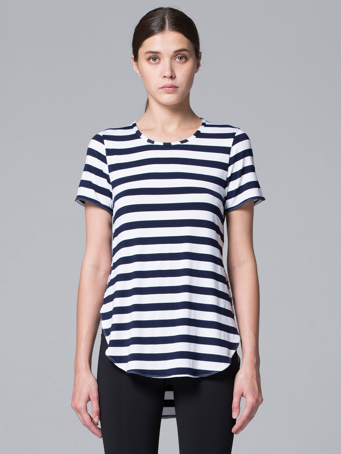 HI LO SPLIT SIDE TEE, NAVY STRIPES