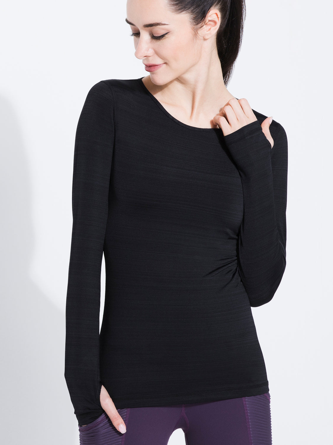 PETAL LONG SLEEVE TEE, BLACK WFX