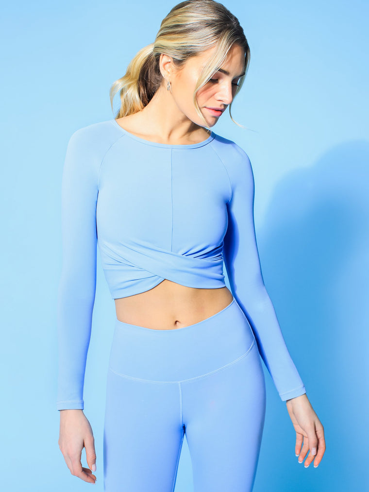 NUDE FRONT WRAP LONG SLEEVE TEE, VIVID BLUE
