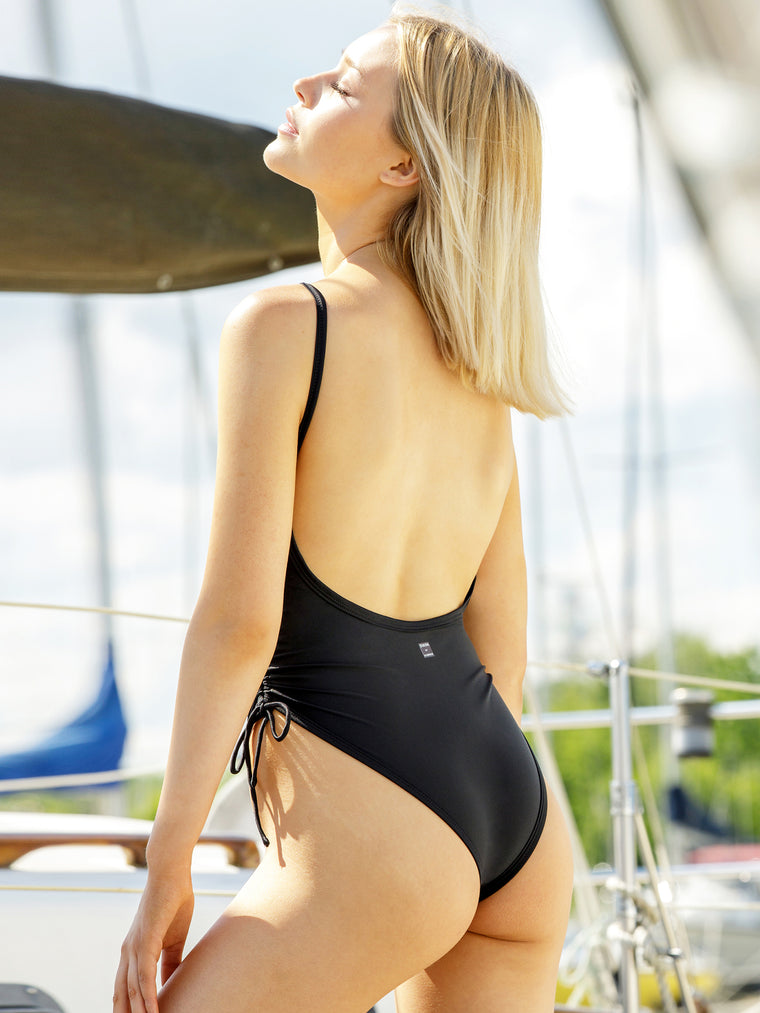RUCHED SIDE TIE SWIMSUIT, BLACK