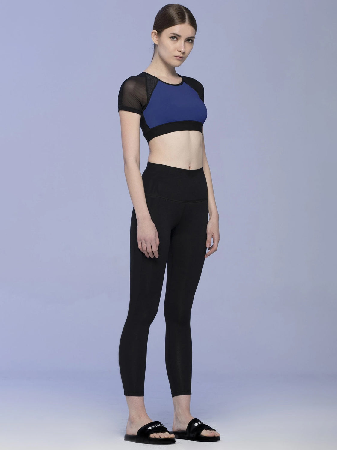 INTENSITY CROPPED TEE , ATLANTIC/BLACK MESH
