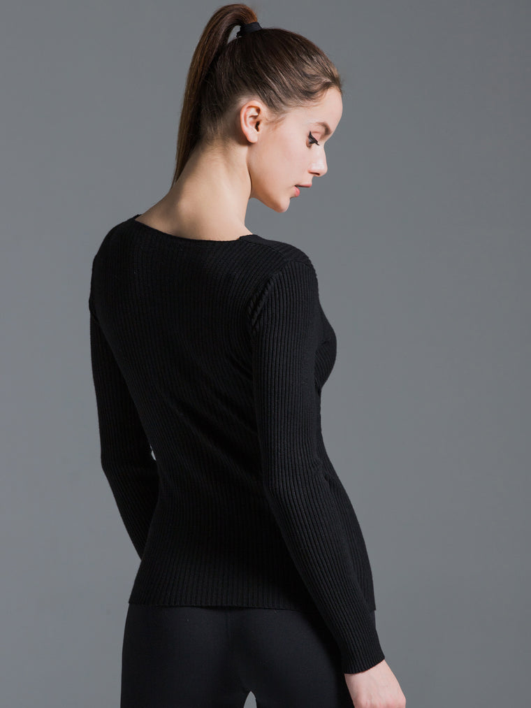 V-NECK RIBBED WRAP TOP, BLACK