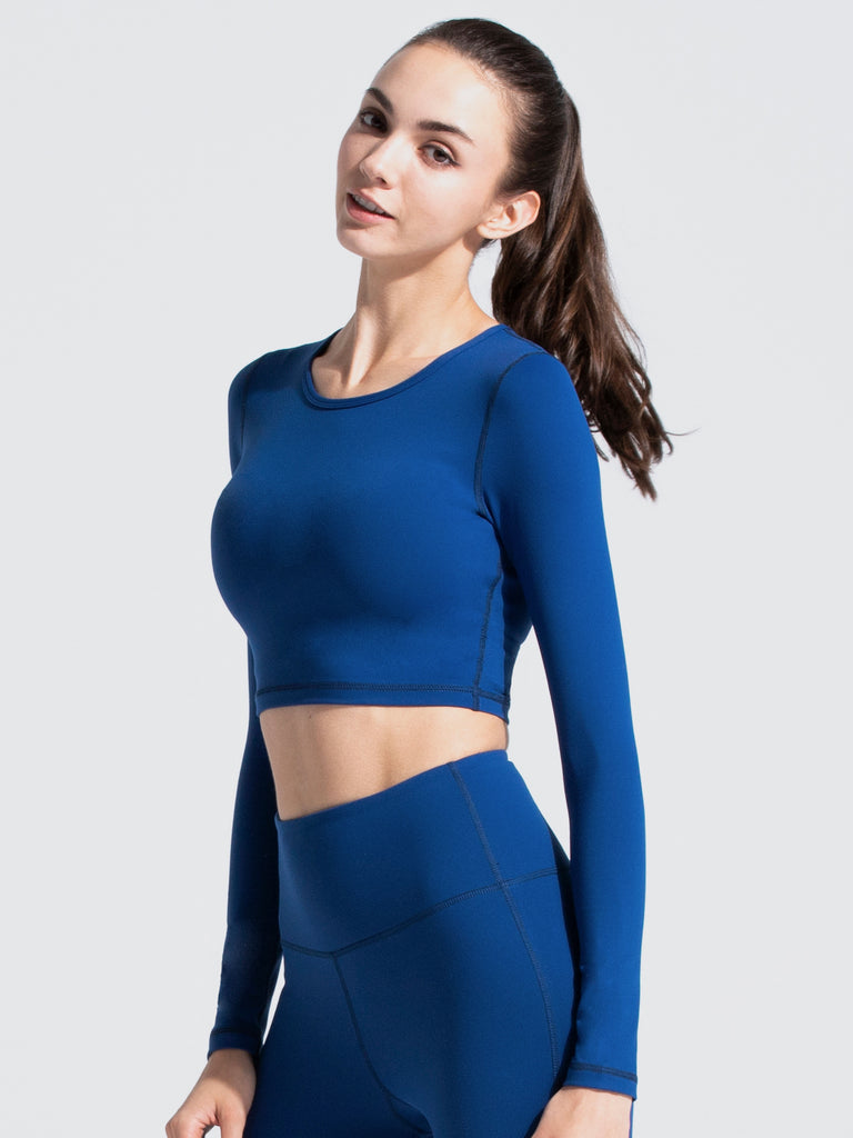 LONG SLEEVE CROPPED TEE, ATLANTIC