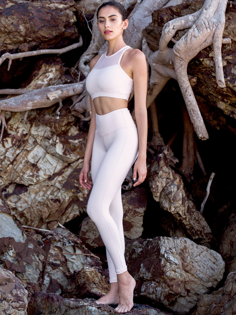 HIGH WAIST ANKLE CROPS, SEASHELL