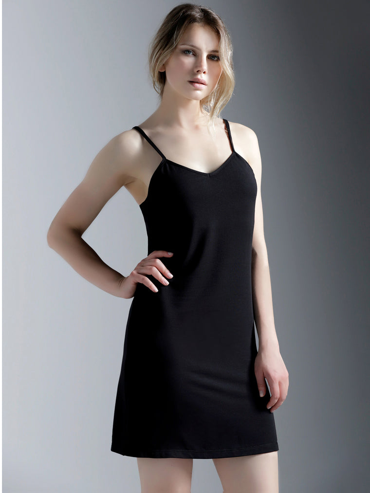 MINI SLIP DRESS, BLACK