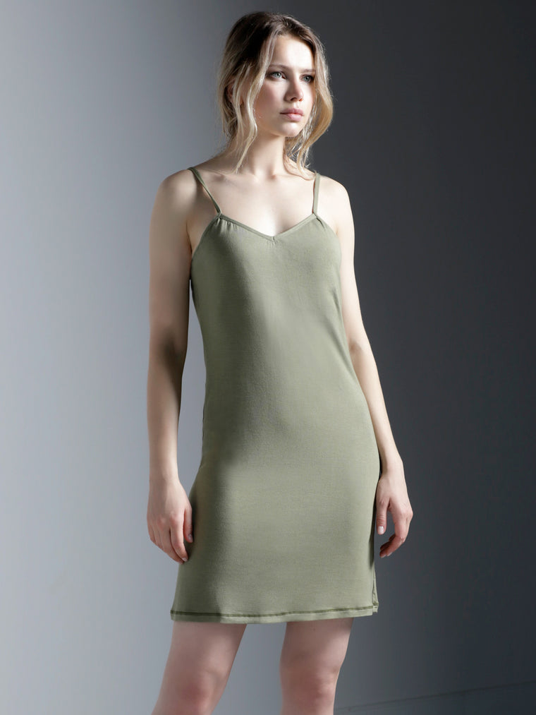 MINI SLIP DRESS, SAGE