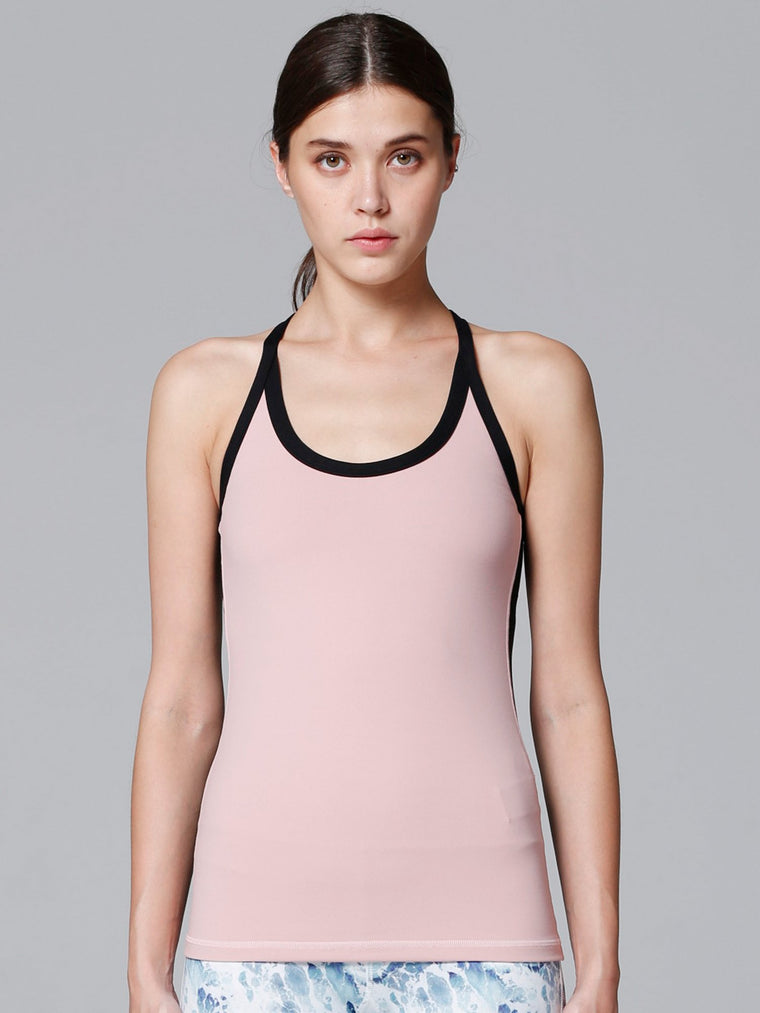 REFLECTION TANK, BLUSH/BLACK MESH