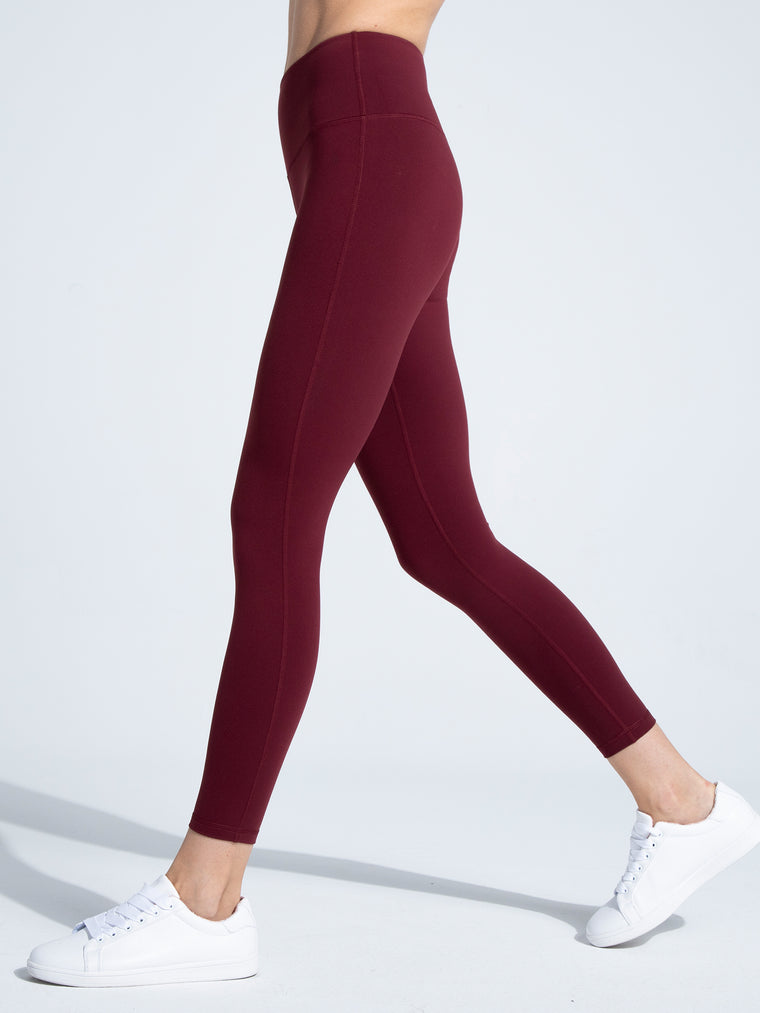 HIGH WAIST ANKLE CROPS, BORDEAUX