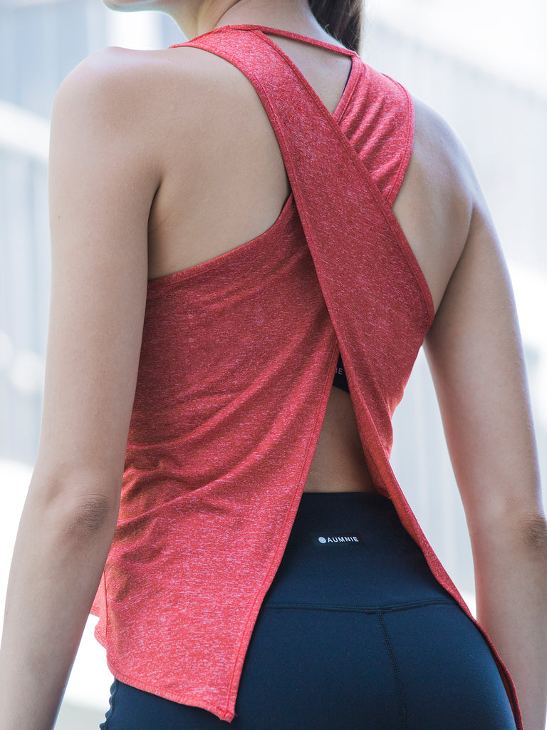 OPEN BACK CROP TOP, RED WFX