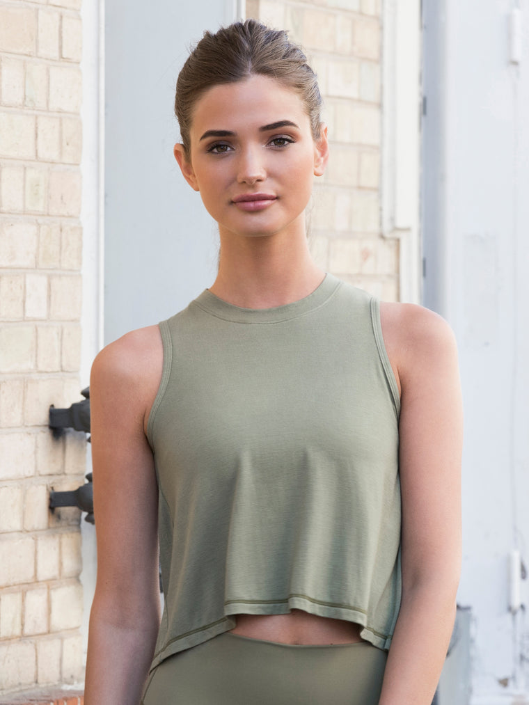 LOOSE CROPPED MUSCLE TANK, SAGE