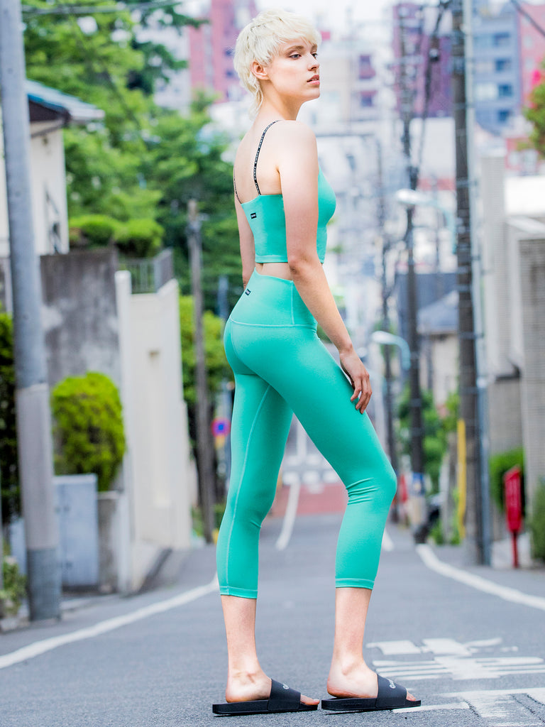 HIGH WAIST 50/20 CROPS, HEATHER GREEN