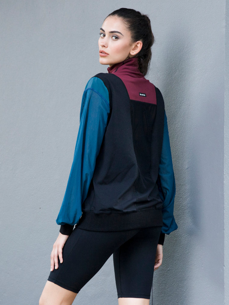 TRICOLOUR MESH SWEATSHIRT,  BLACK, BORDEAUX, LAKE