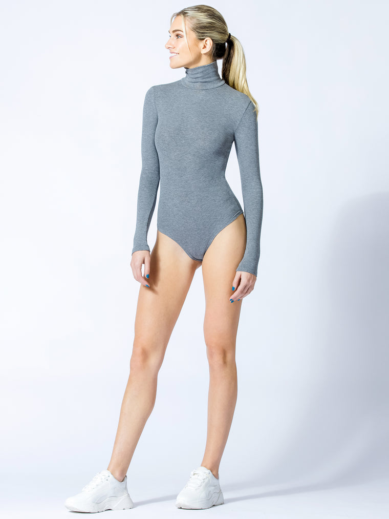 TURTLENECK BODYSUIT, GREY
