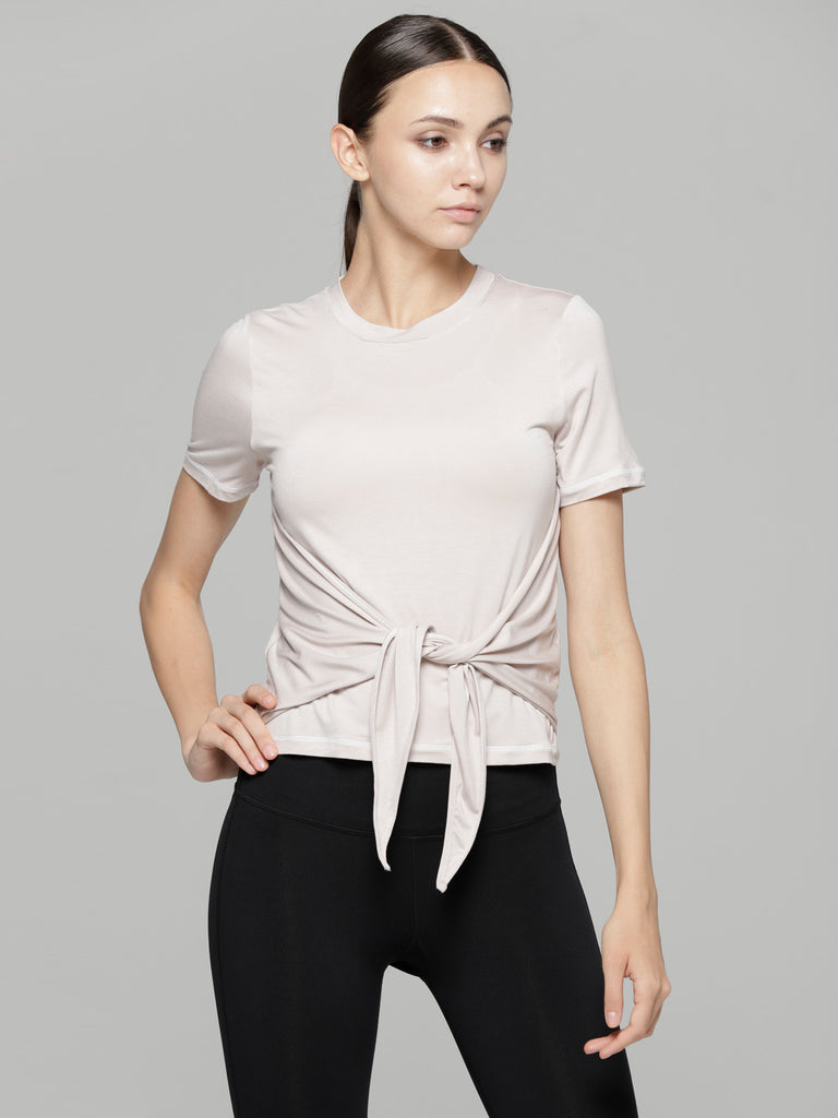 FITTED TEE WITH FRONT AND BACK TIE, NEW PINK
