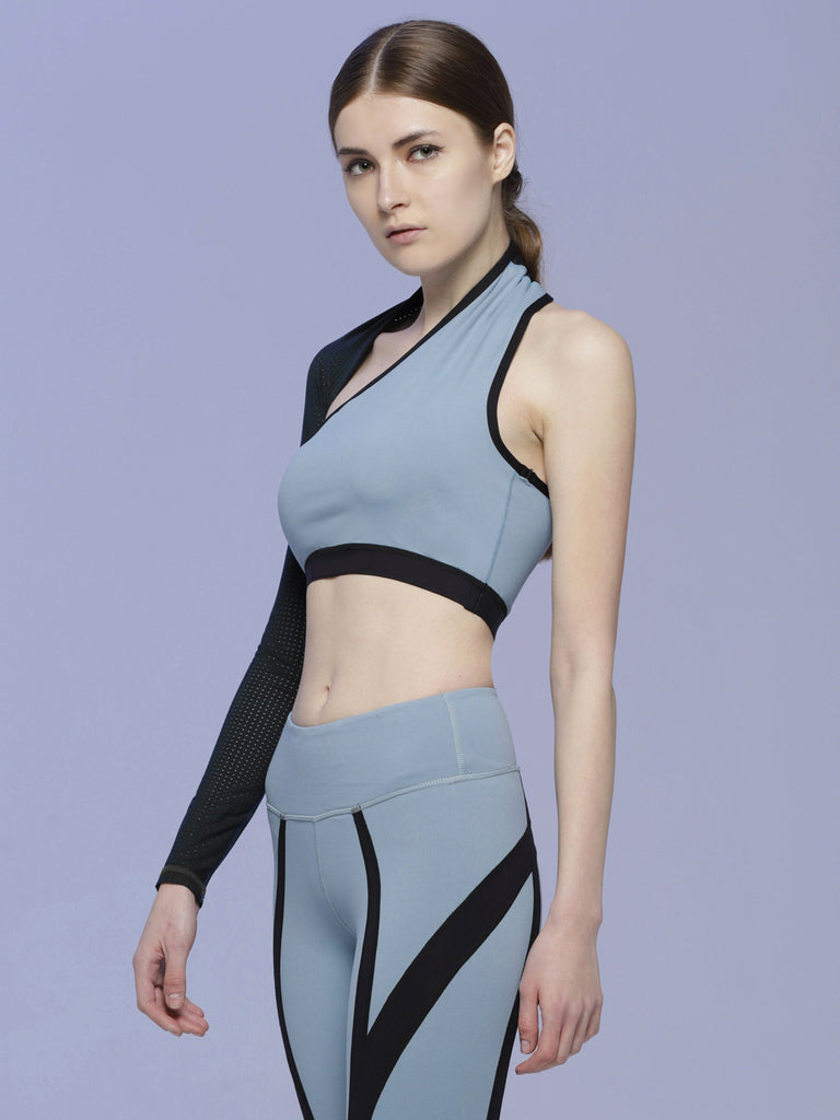 STRAIT CROPPED TOP, STORM/PERFORATED MESH