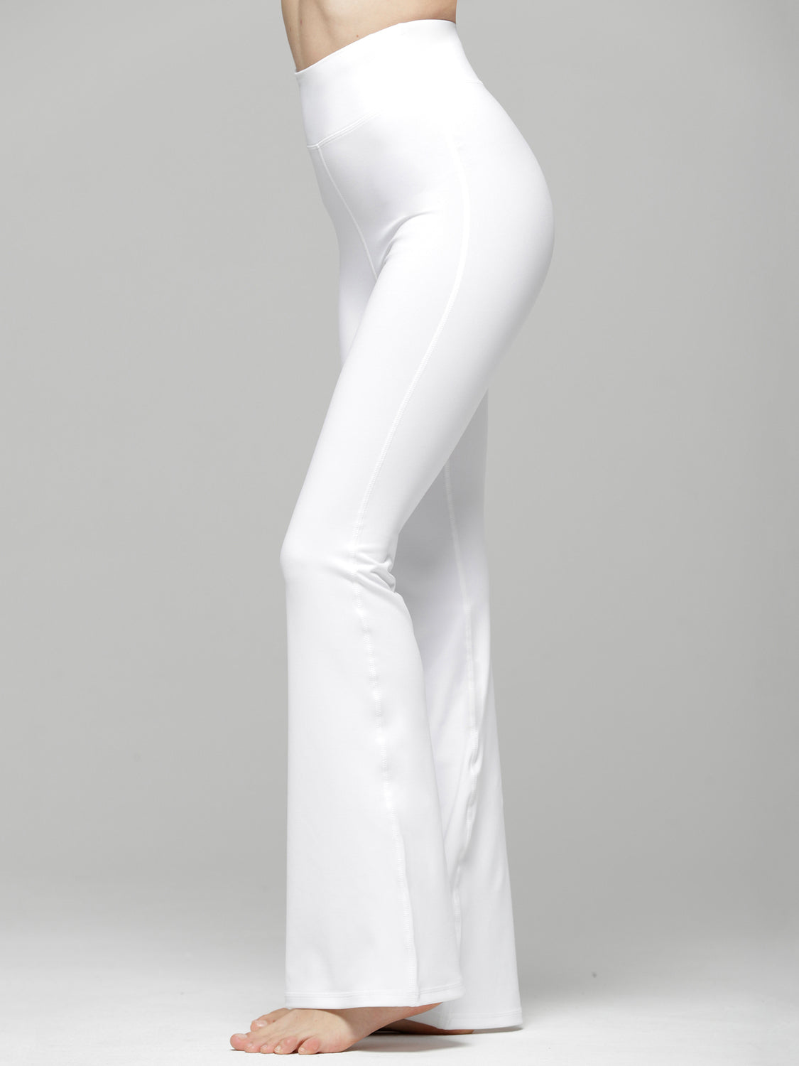 HIGH WAIST FLARE PANTS, WHITE