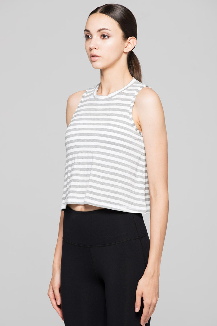 LOOSE CROPPED MUSCLE TANK, GREY STRIPES