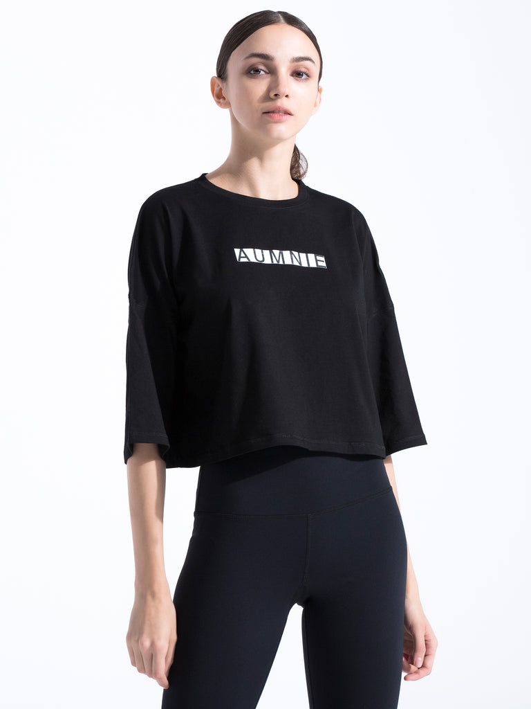 HB OVERSIZED CROPPED T-SHIRT, BLACK