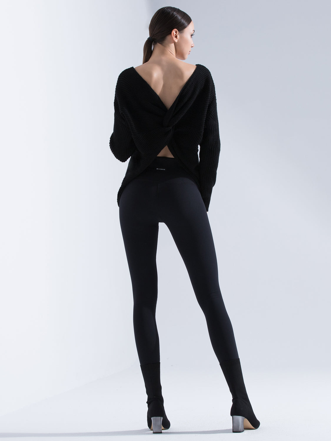 KNOTTED OPEN BACK SWEATER, BLACK