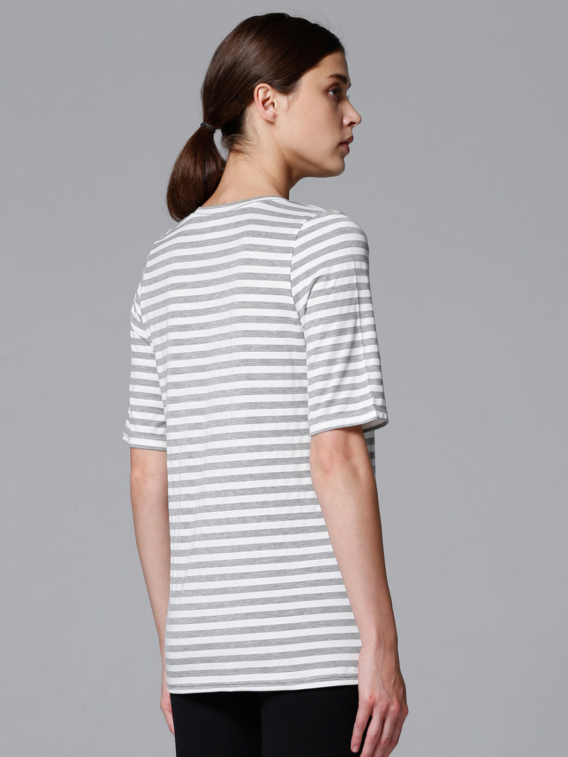 LOOSE DEEP V TEE, GREY STRIPES